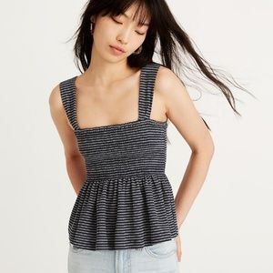 Madewell Peplum Smocked tank in navy stripe